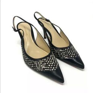 Ann Taylor Black Ivory Calf Hair Pointed Toe Heel